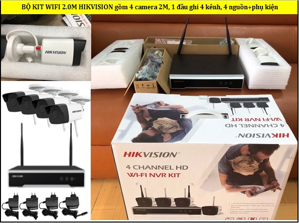 Bộ kit wifi Hikvision 4 camera 2.0M