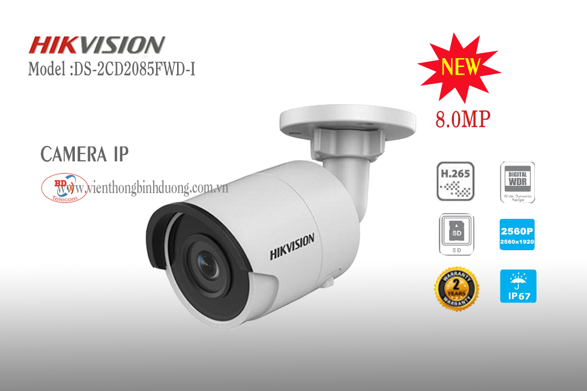 Camera IP Hikvision 8.0 Megapixel DS-2CD2085FWD-I