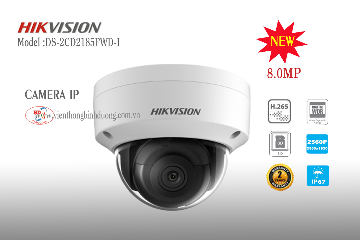 Camera IP Hikvision 8.0 Megapixel DS-2CD2185FWD-I