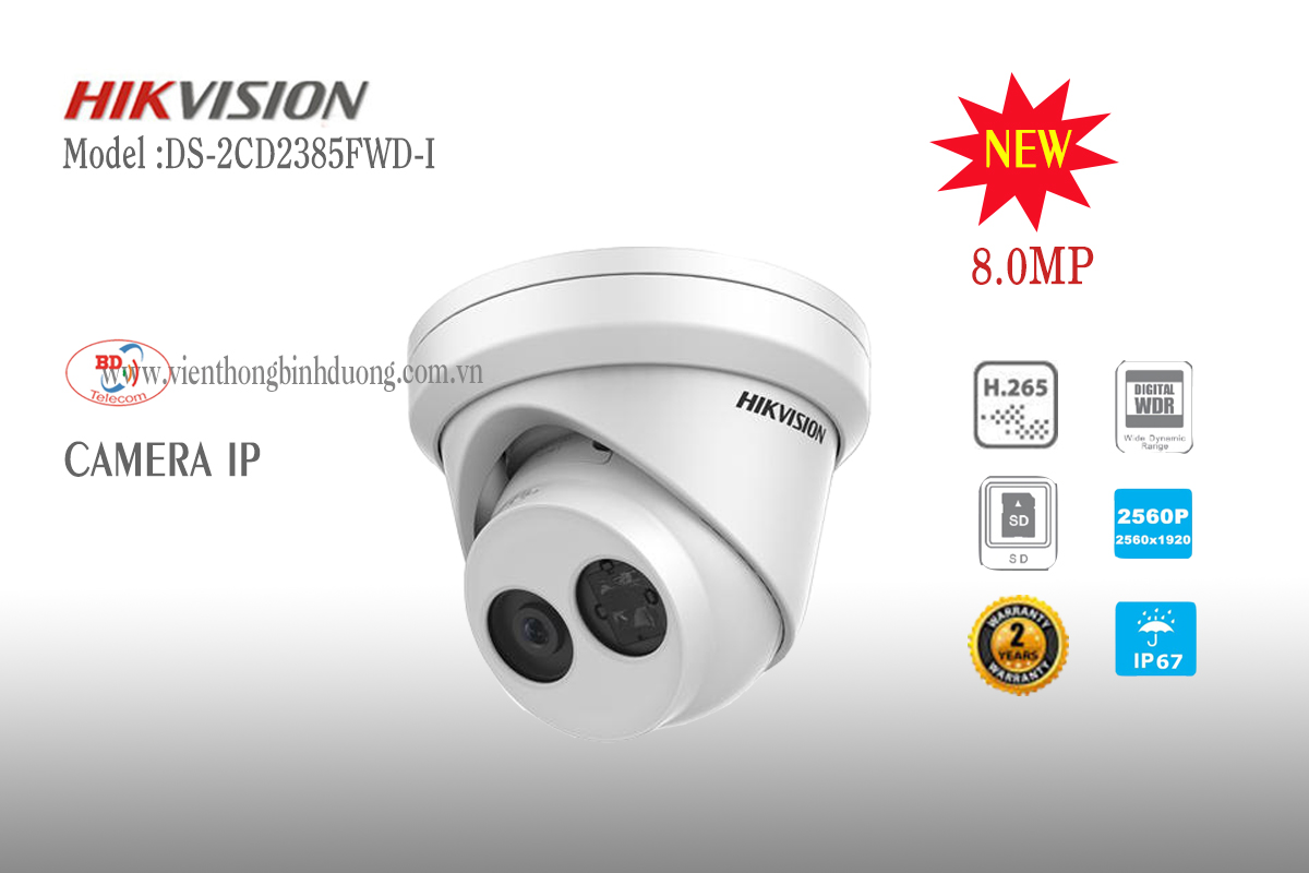 Camera IP Hikvision 8.0 Megapixel DS-2CD2385FWD-I